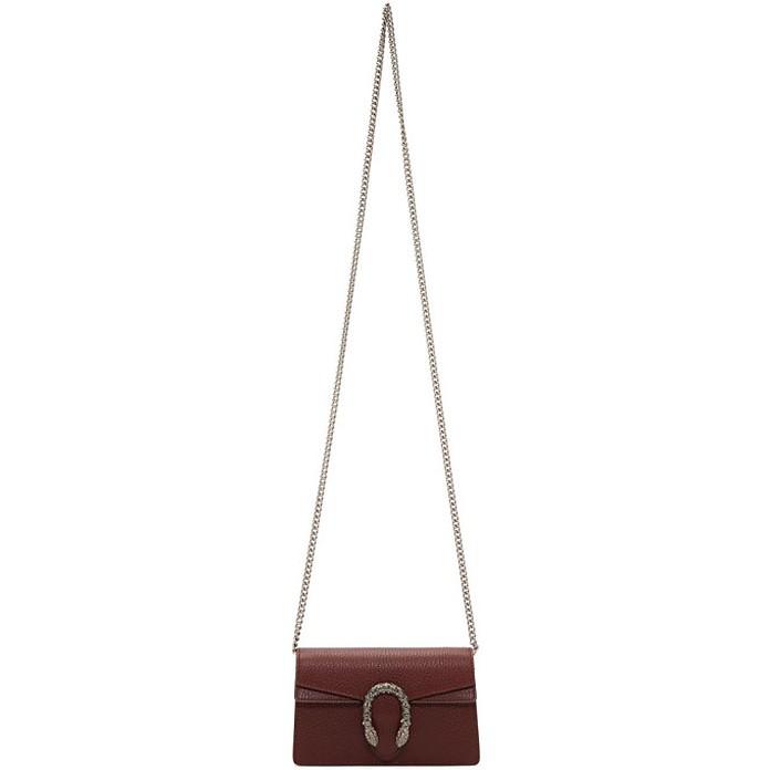 Bergundy Super Mini Dionysus Chain Bag - Gucci