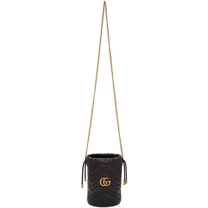 Black Mini GG Marmont 2.0 Bucket Bag - Gucci
