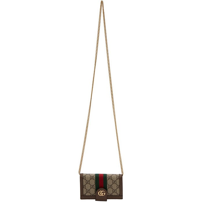 Brown GG Supreme Ophidia Phone Wallet Bag - Gucci 古奇