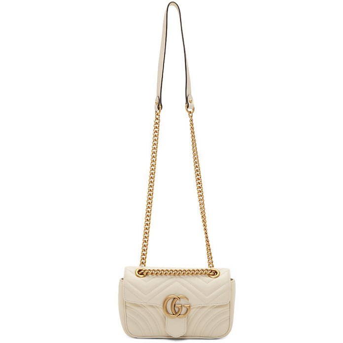 White Mini GG Marmont Chain Bag - Gucci