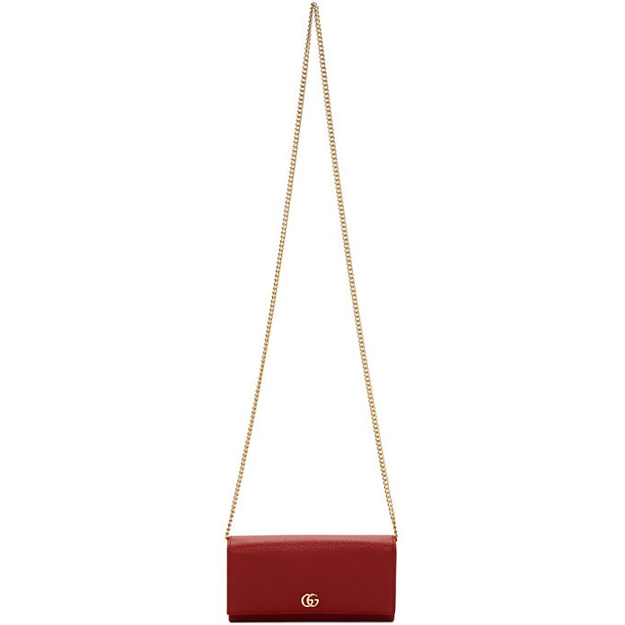 Red Small Marmont Chain Wallet Bag - Gucci