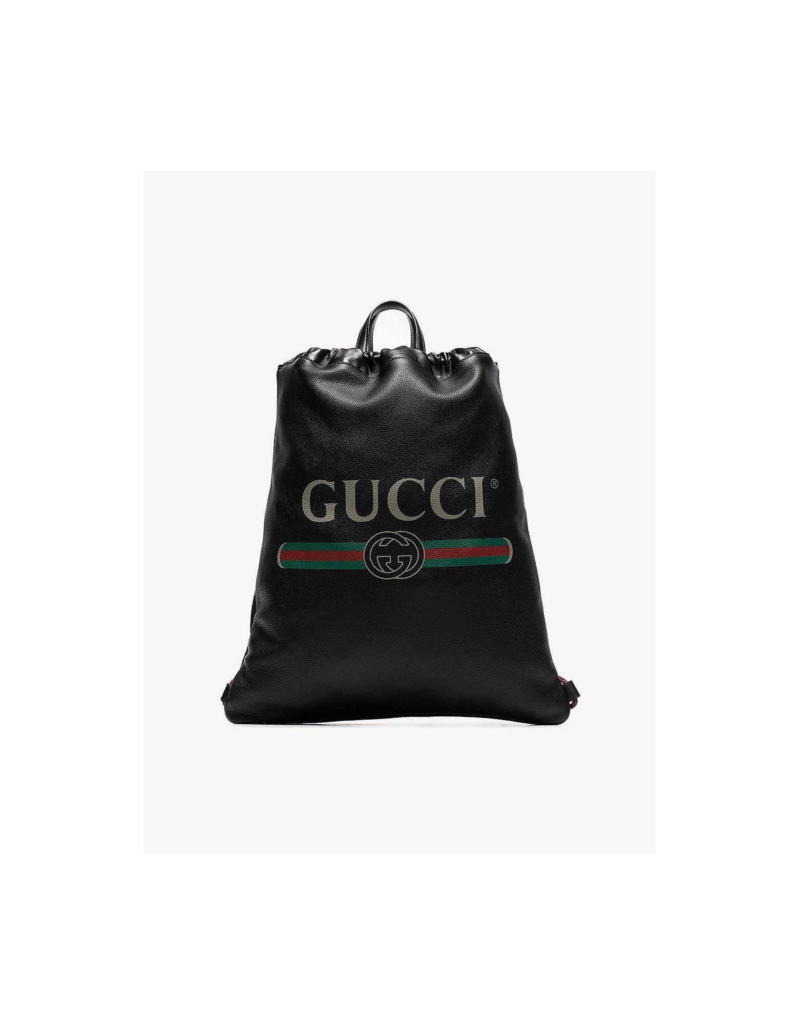 Gucci Backpacks BLACK LOGO PRINT LEATHER DRAWSTRING BACKPACK
