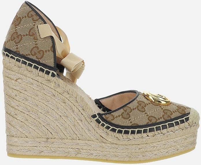 Beige GG Fabric Espadrille Platform Sandals  - Gucci