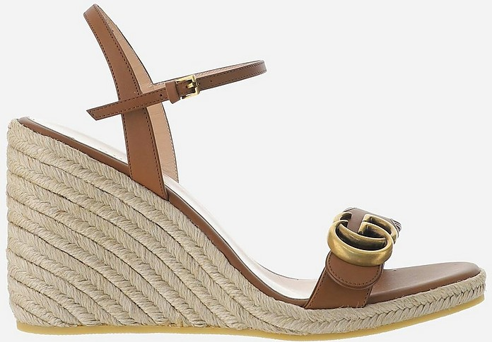 Brown Leather Espadrille Platform Sandals - Gucci