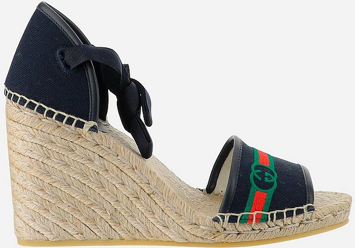 Blue Canvas and Leather Wedge Sandals - Gucci