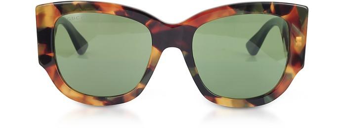 b93ae3cc499ec GG0276S Dark Tortoiseshell Oversize Cat Eye Acetate Sunglasses w Sylvie Web  Temples - Gucci