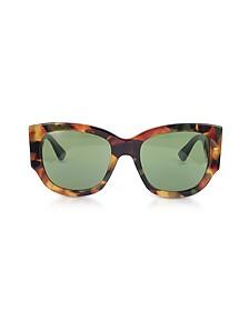 GG0276S Dark Tortoiseshell Oversize Cat Eye Acetate Sunglasses w/Sylvie Web Temples - Gucci