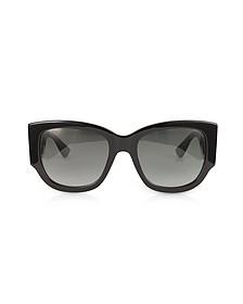 GG0276S Black Oversize Cat Eye Acetate Sunglasses w/Sylvie Web Temples - Gucci