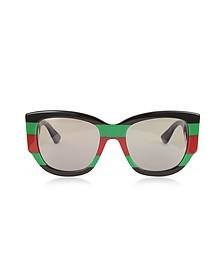 GG0276S Color Block Oversize Cat Eye Acetate Sunglassesw/Sylvie Web Temples - Gucci