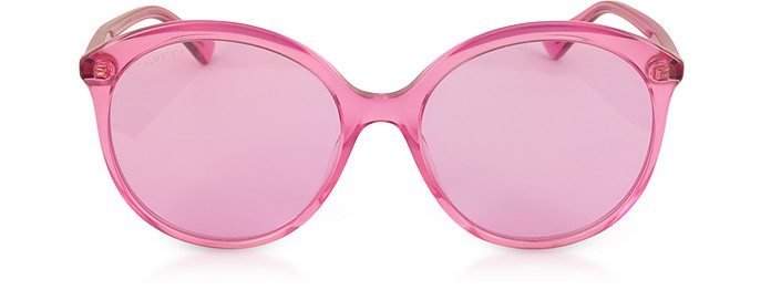 GG0257S Specialized Fit Round-frame Transparent Fuchsia Acetate Sunglasses - Gucci / グッチ
