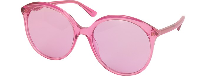 17683af98b6f GG0257S Specialized Fit Round-frame Transparent Fuchsia Acetate Sunglasses  - Gucci.  310.00 Actual transaction amount