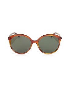 GG0257S Specialized Fit Round-frame Havana Brown Acetate Sunglasses - Gucci