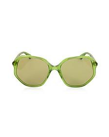GG0258S Geometric-frame Transparent Green Acetate Sunglasses - Gucci
