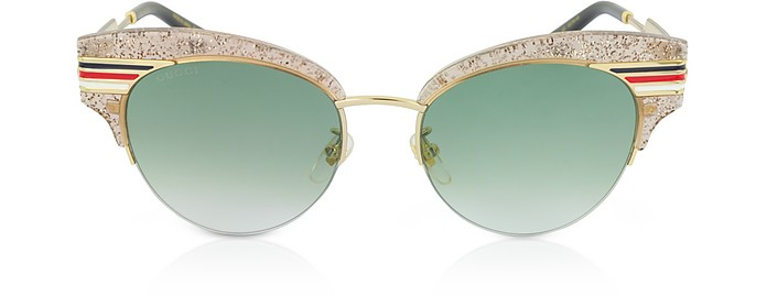 9d6b51ee8f Gucci Gg0283S Cat Eye Beige Glitter Acetate Sunglasses W Sylvie Web Temples