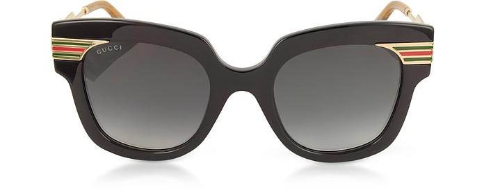 GG0281S Square-Frame Black Acetate Sunglasses w/Sylvie Web Temples - Gucci
