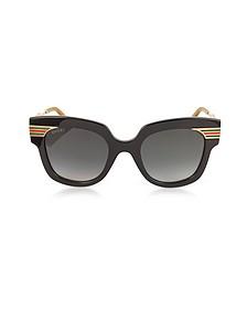 Square-frame Black Acetate Sunglasses w/Sylvie Web Temples - Gucci
