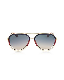 GG0062S Aviator Gold Metal Sunglasses - Gucci