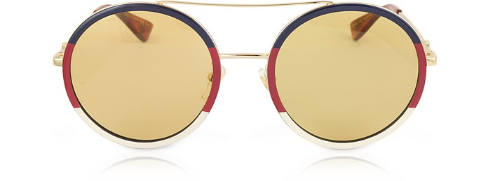 d4405eb38c44 Gucci Gg0061S Round-Frame Metal Sunglasses W/Sylvie Web Trim In Gold Metal/