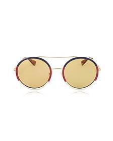 GG0061S Round-frame Metal Sunglasses w/Sylvie Web Trim - Gucci