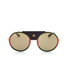 GG0061S Round-frame Gold Metal and Black Leather Sunglasses w/Sylvie Web Trim  - Gucci