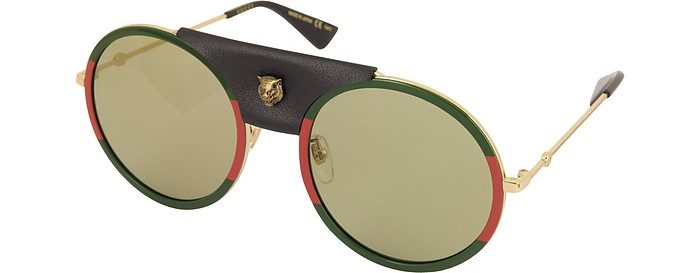 345dda90ed2 GG0061S Round-frame Gold Metal and Black Leather Sunglasses w Sylvie Web  Trim -.  630.00 Actual transaction amount