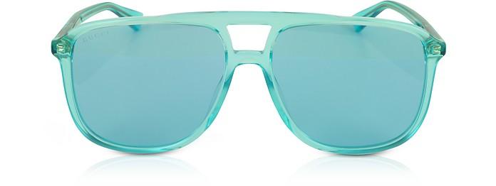 GG0262S 矩形框蓝色醋酸太阳镜 - Gucci 古奇