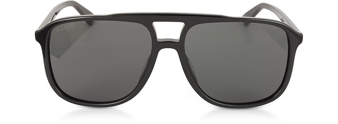 GG0262S 矩形框黑色醋酸太阳镜 - Gucci 古奇