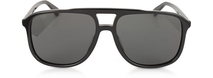 ade8820ec6b Gucci Black Black GG0262S Rectangular-frame Black Acetate Sunglasses ...