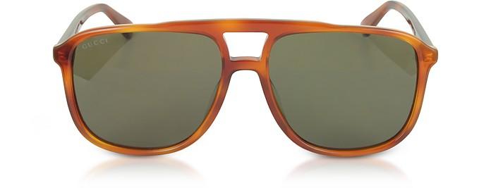 GG0262S 矩形框浅哈瓦那棕色醋酸太阳镜 - Gucci 古奇
