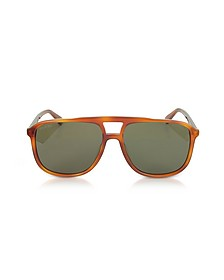 GG0262S Rectangular-frame Light Havana Brown Acetate Sunglasses - Gucci