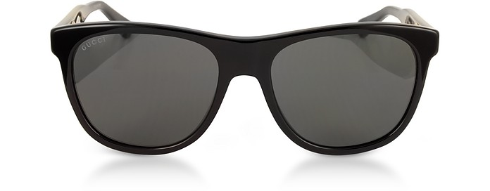 GG0266S Squared-frame Black Sunglasses w/Polarized Lenses - Gucci