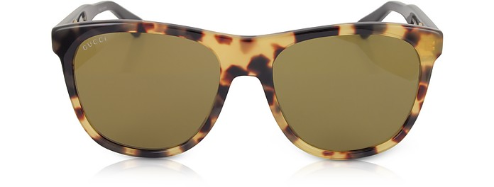GG0266S Squared-frame Havana Brown Sunglasses w/Polarized Lenses - Gucci