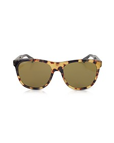 GG0266S Squared-frame Havana Brown Sunglasses w/Polarized Lenses - Gucci