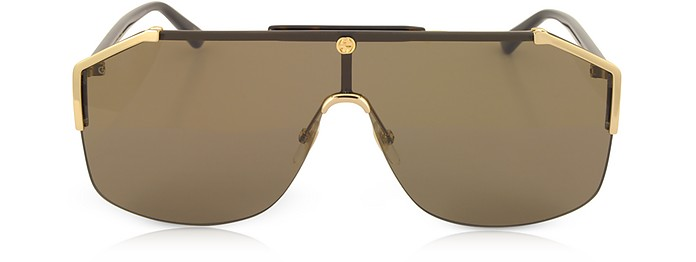 7174de3b0a94 Gucci Gold/Brown GG0291S Rectangular-frame Gold Metal Sunglasses at ...