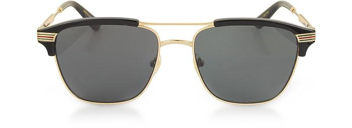 bdf027d82baf8 Gucci black smoke GG0241S 002 Square-frame Metal Sunglasses at FORZIERI