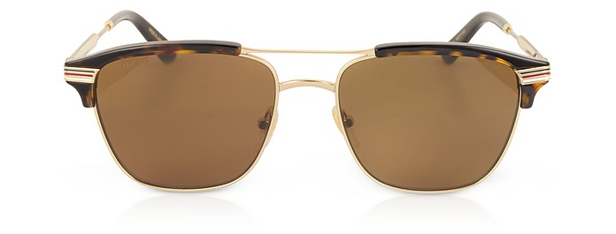 6413d0711bba Gucci havana/brown GG0241S 002 Square-frame Metal Sunglasses at ...