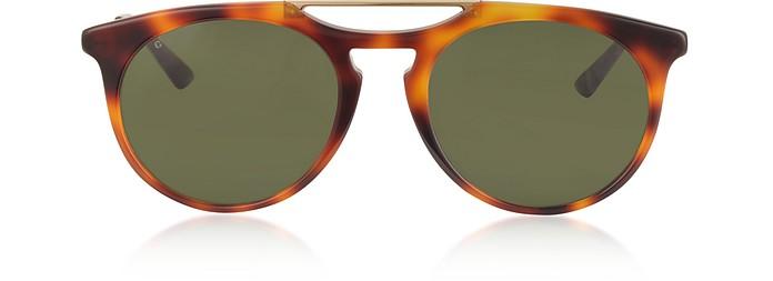 622745e43f1 Gucci havana   gold   green GG0320S Round-frame Acetate Sunglasses ...