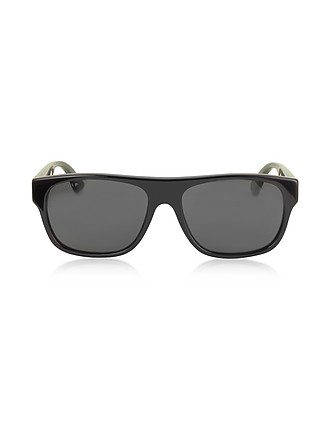 bae169f39 Gucci Black/Gray GG0341S Rectangular-frame Acetate Sunglasses at ...