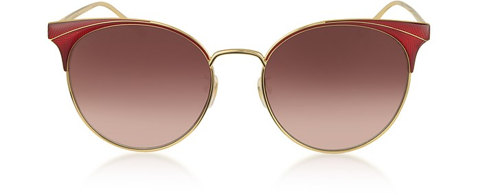 GG0402SK Shiny Gold Guilloché Metal Frame Sunglasses  - Gucci