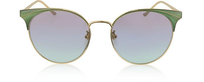 Shiny Gold Guilloché Metal Frame Sunglasses  - Gucci