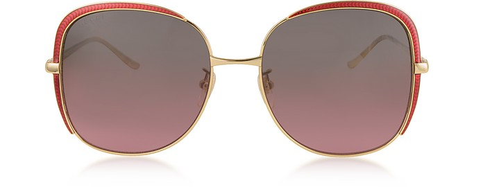 GG0400S Shiny Gold Guilloché Metal Frame Sunglasses - Gucci / グッチ