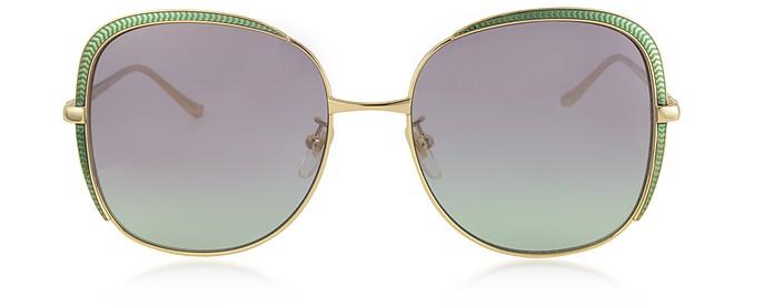 GG0400S Shiny Gold Guilloché Metal Frame Sunglasses - Gucci