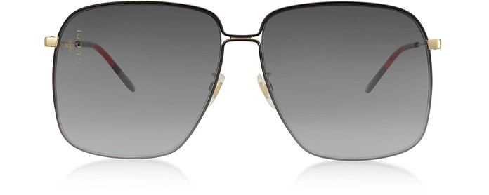 GG0394S Rectangular-frame Metal Sunglasses w/Mini Interlocking G Logo - Gucci