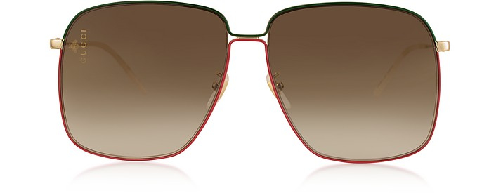 Rectangular-frame Metal Sunglasses w/Mini Interlocking G Logo - Gucci