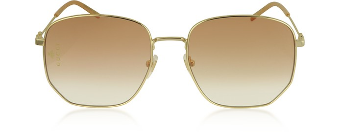 Squared-frame Gold Metal Sunglasses - Gucci