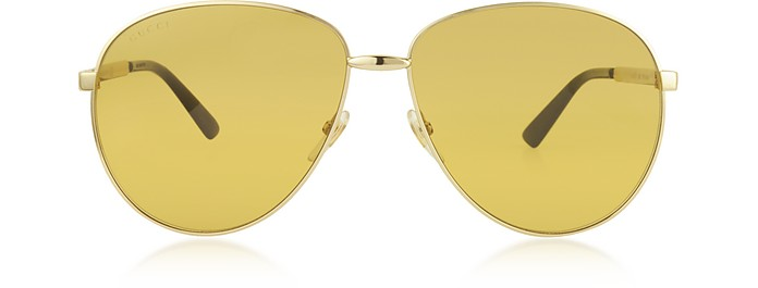 Aviator Metal Sunglasses w/Adjustable Nose Pads - Gucci / グッチ