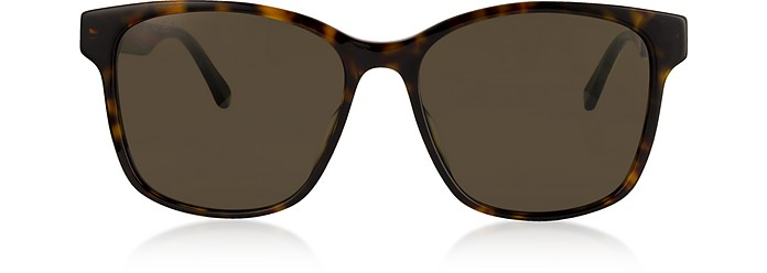Rectangular-frame Tortoise Acetate Sunglasses w/Web Temples - Gucci 古奇