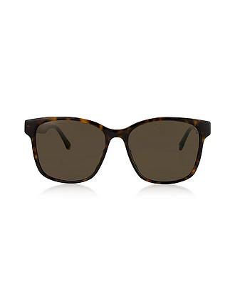 e155442e1c3 Rectangular-frame Tortoise Acetate Sunglasses w Web Temples - Gucci