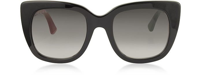 Squared-frame Optyl Sunglasses w/Web Temples - Gucci 古奇