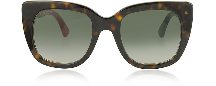 Squared-frame Optyl Sunglasses w/Web Temples - Gucci